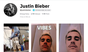 Justin Bieber cán mốc 2,3 triệu followers sau 10 ngày trên TikTok