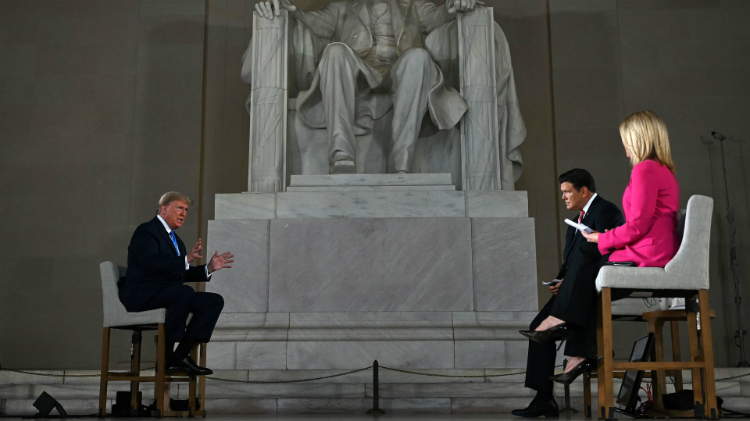 President Donald Trump speaks during a Fox News virtual town hall at the Lincoln Memorial. Photo: Jim Watson/AFP via Getty Images)
